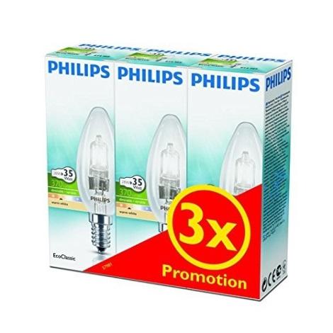 SADA 3x Stmievateľná halogénová žiarovka Philips E14/28W/230V