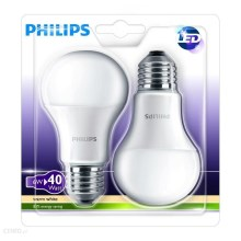 SET 2x LED Žiarovka Philips E27/6W/230V