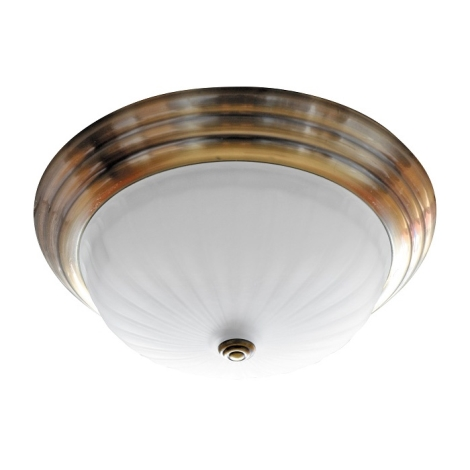 Stropné svietidlo 2xE27/60W bronz/sklo prúžky