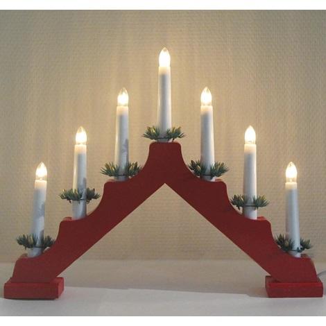 Vianočný dekoračný svietnik 7xE10/3W červený, tvar A