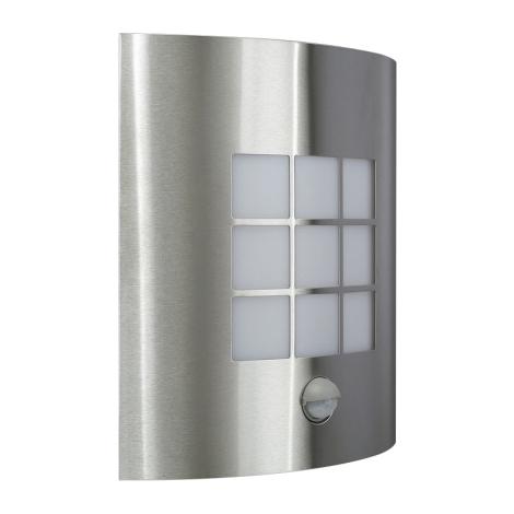 Vonkajšie nástenné svietidlo s čidlom INOX 1xE27/60W/230V - 17015/47/CA