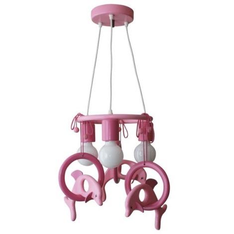 Závesný luster DELFÍN fialová/ružova/drevo